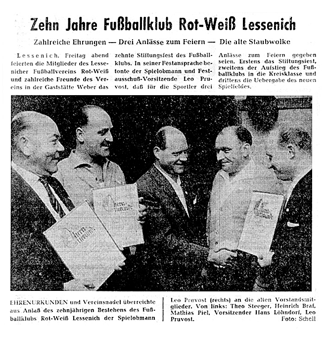 1961 – 10 Jahre FC Rot-Weiss Lessenich